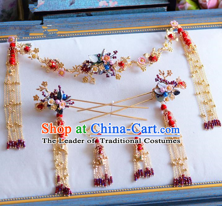 Chinese Ancient Handmade Palace Hair Accessories Hair Clasp Traditional Hairpins Complete Set for Women