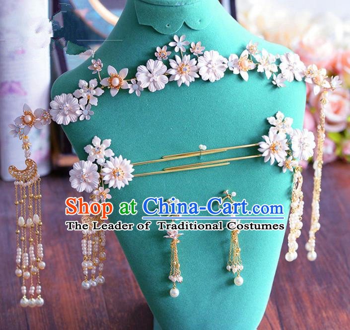 Chinese Ancient Handmade Palace Hair Accessories Flowers Hair Clasp Traditional Hairpins Complete Set for Women