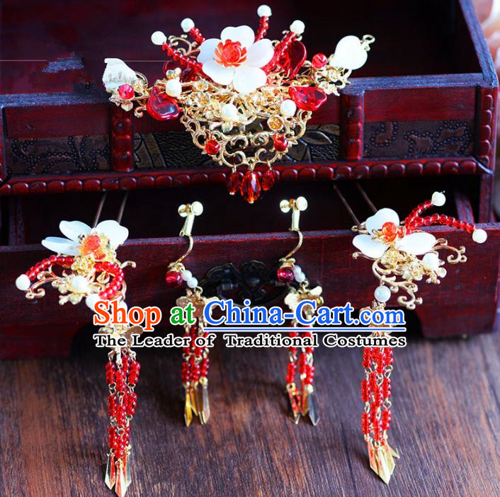 Chinese Ancient Handmade Palace Tassel Hair Clips Hair Accessories Traditional Hairpins Complete Set for Women