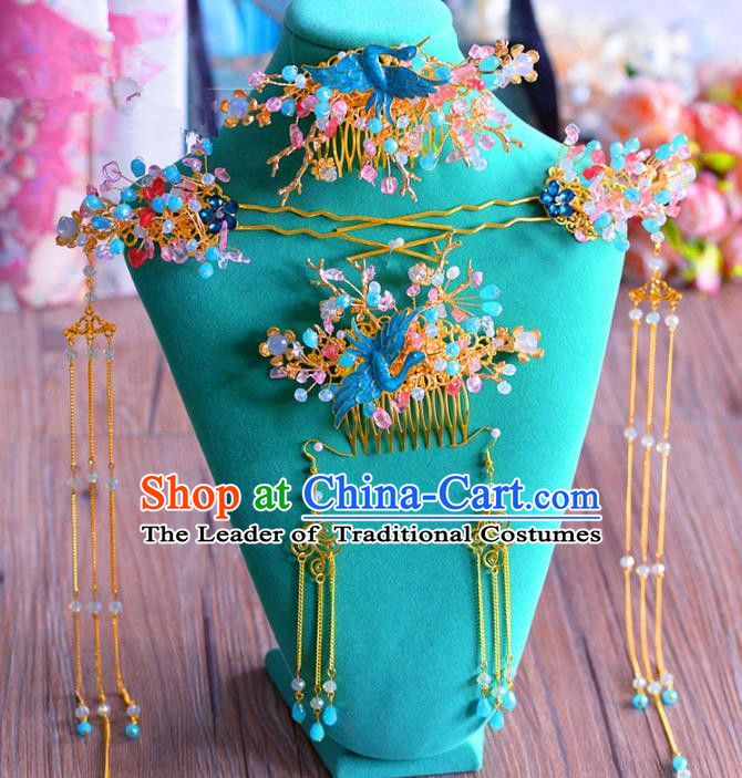 Chinese Ancient Handmade Palace Cloisonne Phoenix Hair Comb Hair Accessories Traditional Hairpins for Women