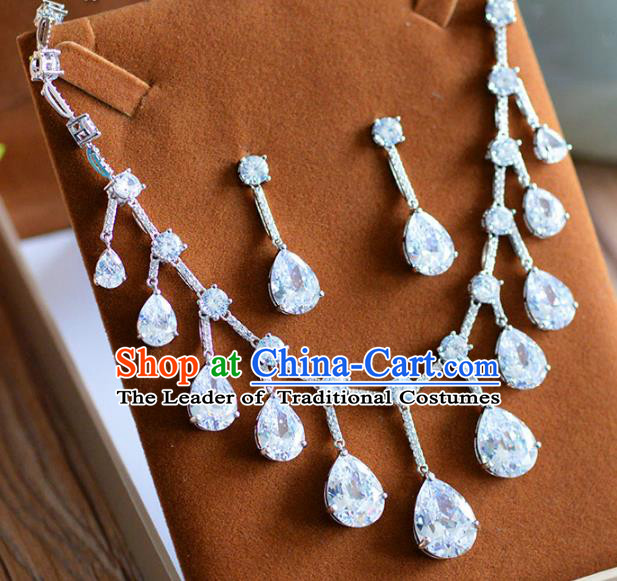 Top Grade Handmade Wedding Zircon Jewelry Accessories Necklace and Earrings for Women