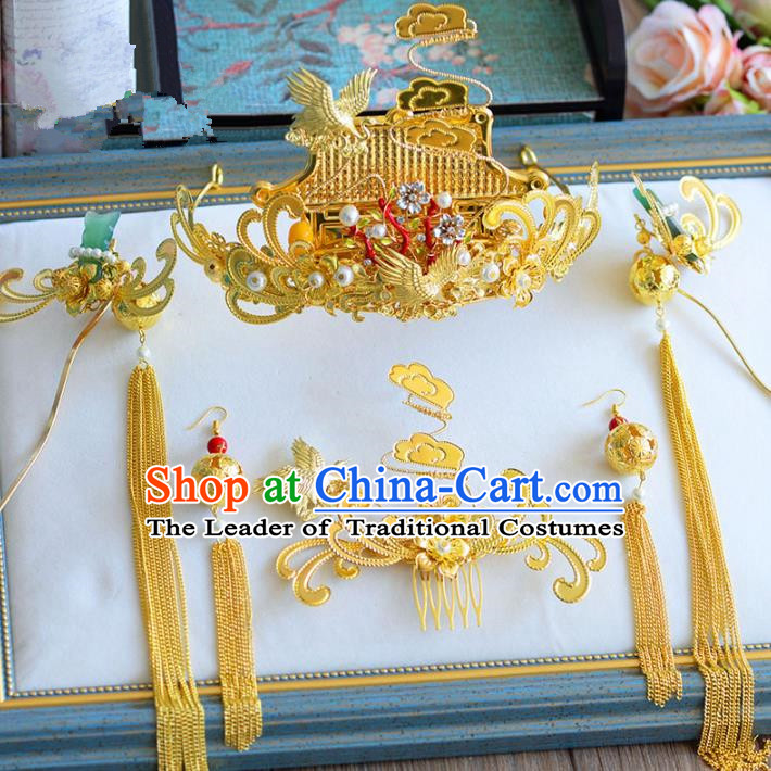 Chinese Ancient Handmade Palace Golden Hair Clips Traditional Hair Accessories Xiuhe Suit Hairpins for Women