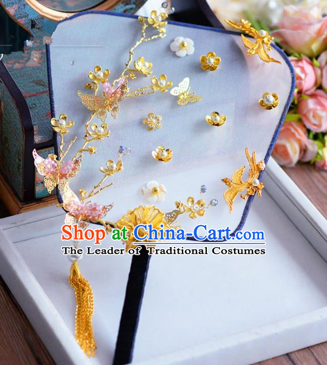 Chinese Handmade Wedding Accessories Palace Fans Hanfu Golden Butterfly Fans for Women