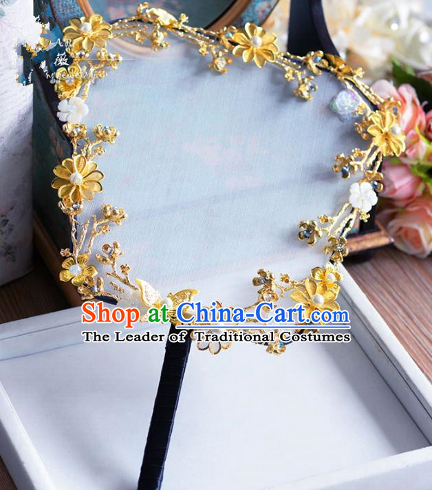 Chinese Handmade Wedding Accessories Palace Fans Hanfu Golden Flowers Fans for Women