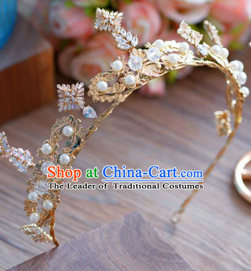 Top Grade Handmade Baroque Zircon Hair Accessories Princess Golden Pearls Royal Crown Headwear for Women