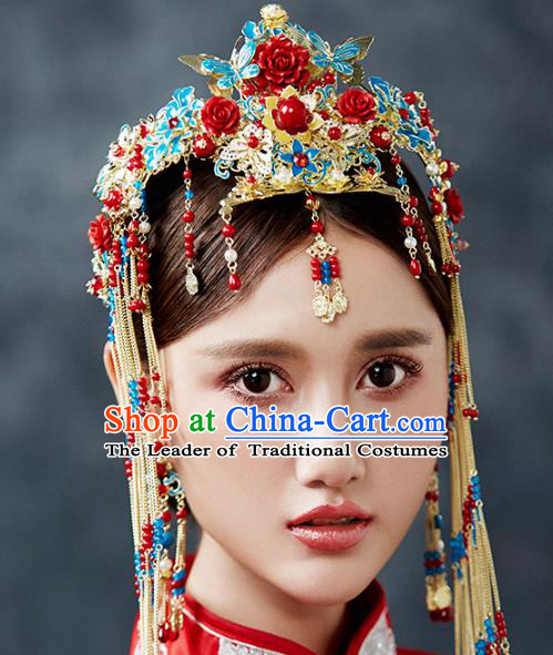 Ancient Chinese Handmade Cloisonne Phoenix Coronet Traditional Hair Accessories Xiuhe Suit Hairpins for Women