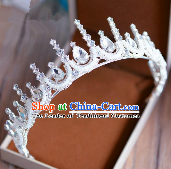 Top Grade Handmade Baroque Zircon Hair Accessories Princess Crystal Royal Crown Headwear for Women
