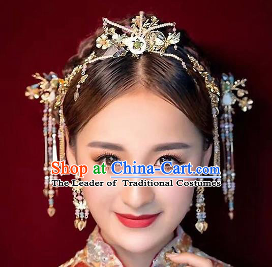 Ancient Chinese Handmade Beads Hair Clips Traditional Hair Accessories Xiuhe Suit Hairpins for Women