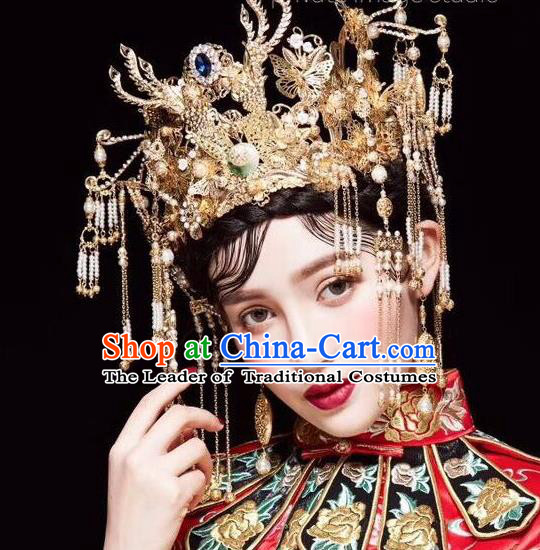 Ancient Chinese Handmade Traditional Hair Accessories Phoenix Coronet Xiuhe Suit Hairpins for Women