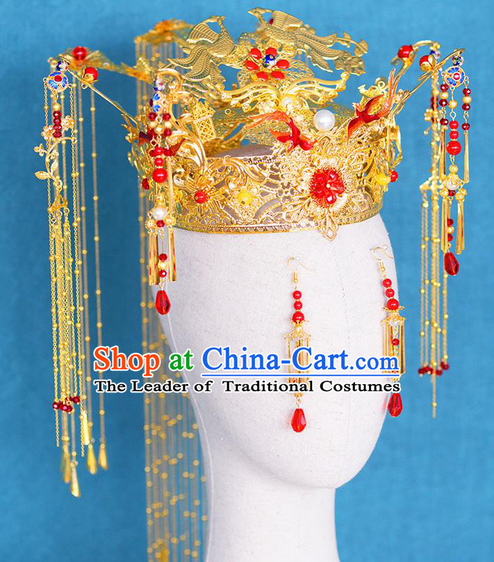 Chinese Ancient Handmade Palace Traditional Phoenix Coronet Hair Accessories Xiuhe Suit Hairpins for Women