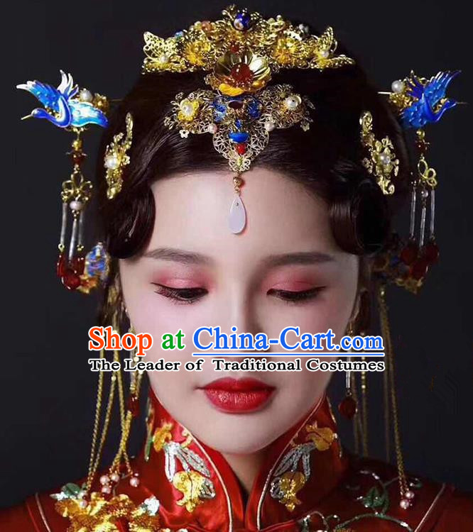 Ancient Chinese Handmade Traditional Hair Accessories Blueing Phoenix Coronet Xiuhe Suit Hairpins for Women