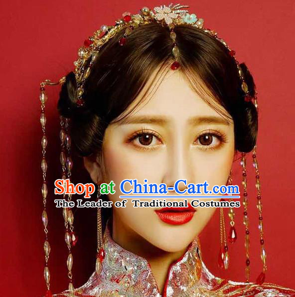 Ancient Chinese Handmade Traditional Hair Accessories Hairpins Phoenix Coronet Complete Set for Women