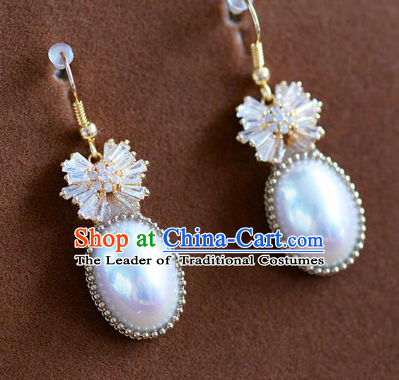 Top Grade Handmade Wedding Earrings Accessories Bride Pearl Eardrop for Women