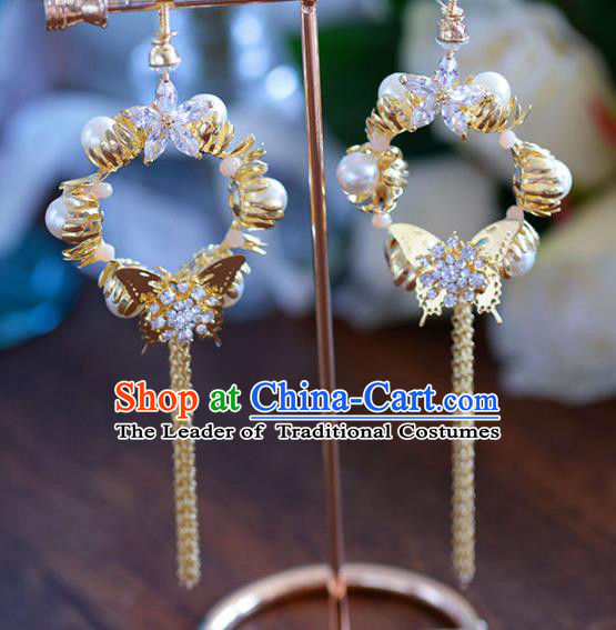 Top Grade Handmade Wedding Earrings Accessories Bride Pearls Eardrop for Women