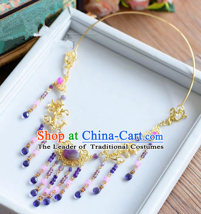 Top Grade Chinese Handmade Jewelry Accessories Ancient Hanfu Tassel Necklace for Women