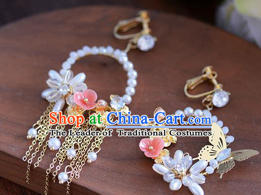 Top Grade Handmade Wedding Butterfly Earrings Accessories Bride Pearls Eardrop for Women