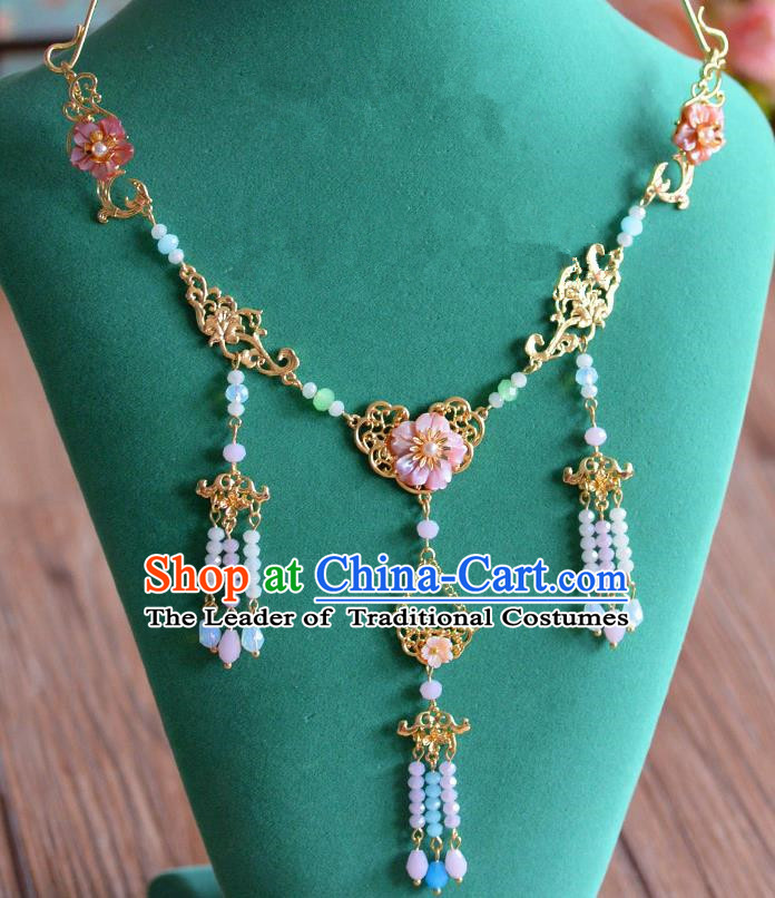 Top Grade Chinese Handmade Jewelry Accessories Ancient Hanfu Beads Tassel Necklace for Women