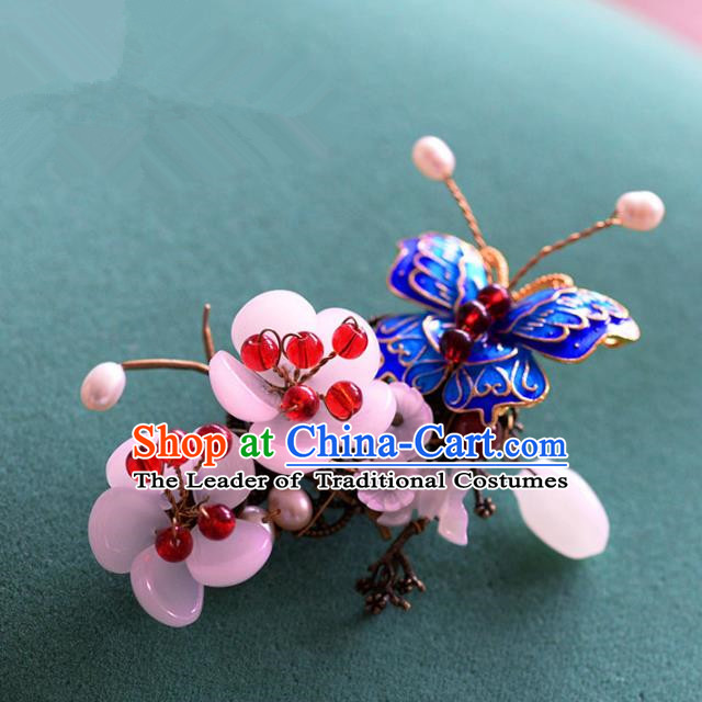 Ancient Chinese Handmade Hair Accessories Xiuhe Suit Hairpins Blueing Butterfly Hair Claw for Women
