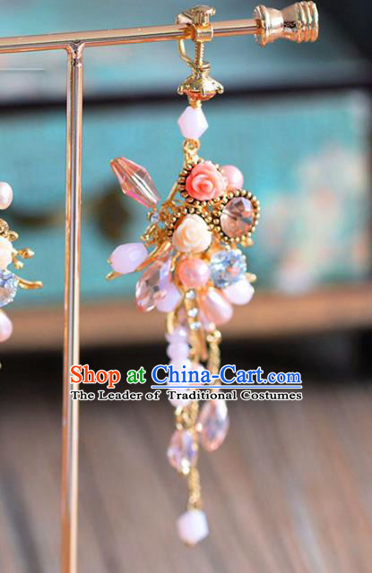 Top Grade Chinese Handmade Wedding Earrings Accessories Bride Pearls Eardrop for Women