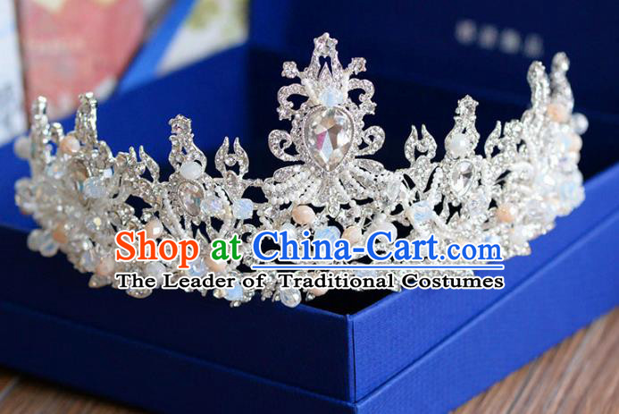 Top Grade Handmade Hair Accessories Baroque Princess Zircon Pearls Royal Crown Headwear for Women