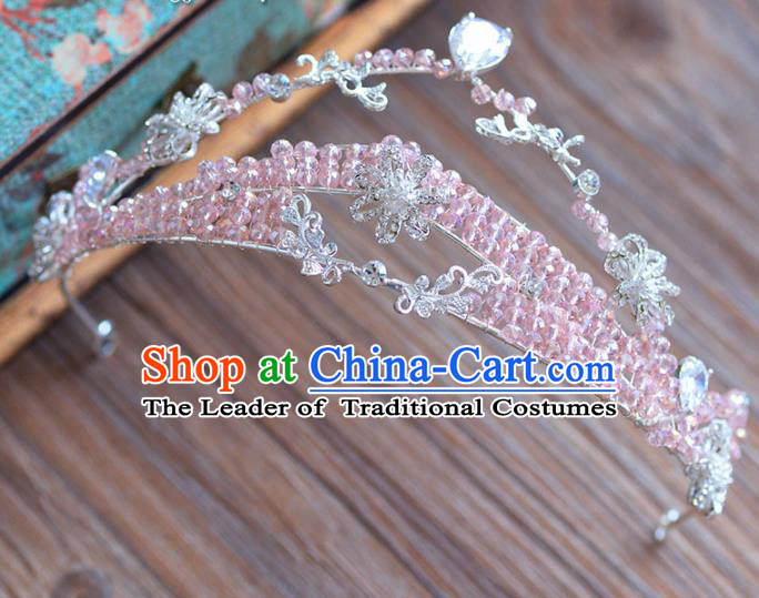 Top Grade Handmade Hair Accessories Baroque Princess Pink Beads Royal Crown Headwear for Women