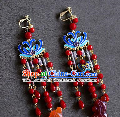 Top Grade Chinese Handmade Wedding Red Beads Tassel Earrings Accessories Bride Blueing Lotus Eardrop for Women