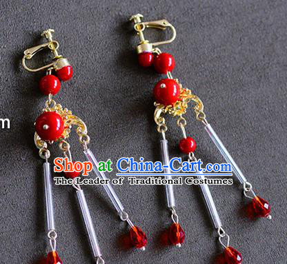 Top Grade Chinese Handmade Wedding Red Beads Tassel Earrings Accessories Bride Eardrop for Women