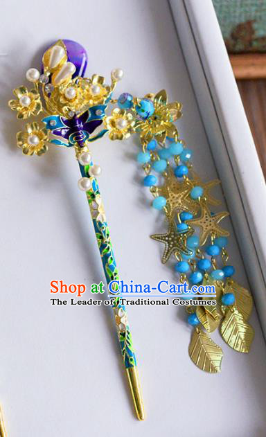 Ancient Chinese Handmade Classical Hair Accessories Hair Clip Xiuhe Suit Cloisonne Hairpins for Women
