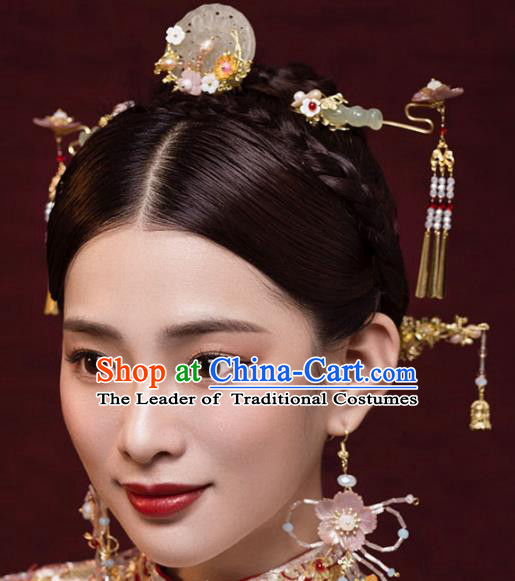 Ancient Chinese Handmade Classical Hair Accessories Jade Hair Comb Xiuhe Suit Hairpins Complete Set for Women