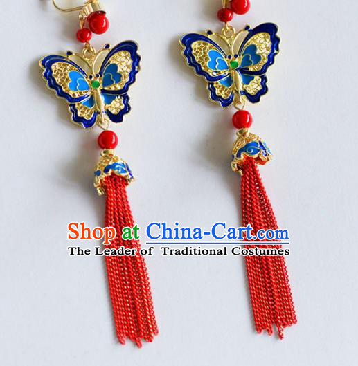 Top Grade Chinese Handmade Wedding Blue Butterfly Tassel Earrings Accessories Bride Eardrop for Women