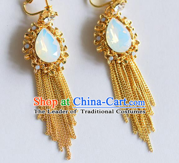 Top Grade Chinese Handmade Wedding Tassel Earrings Accessories Bride Eardrop for Women