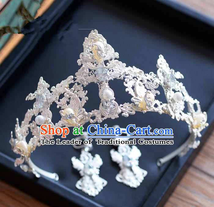 Top Grade Handmade Hair Accessories Baroque Pearls Royal Crown Headwear for Women