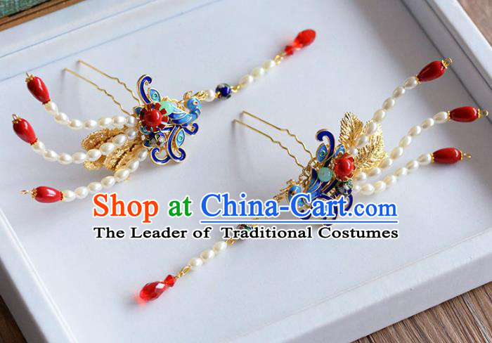 Ancient Chinese Handmade Classical Hair Accessories Hairpins Blueing Phoenix Hair Clip for Women