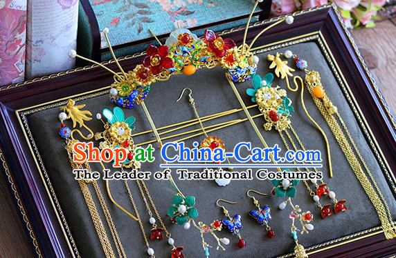 Ancient Chinese Handmade Hair Accessories Xiuhe Suit Hairpins Jade Tassel Step Shake Complete Set for Women