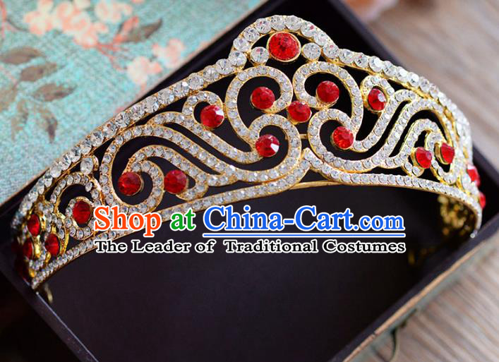 Top Grade Handmade Hair Accessories Baroque Red Crystal Royal Crown Headwear for Women