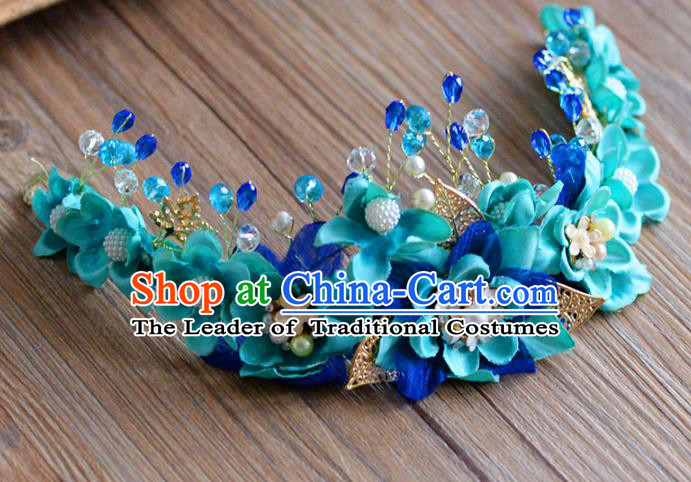 Top Grade Handmade Hair Accessories Baroque Green Flowers Garland Royal Crown Headwear for Women