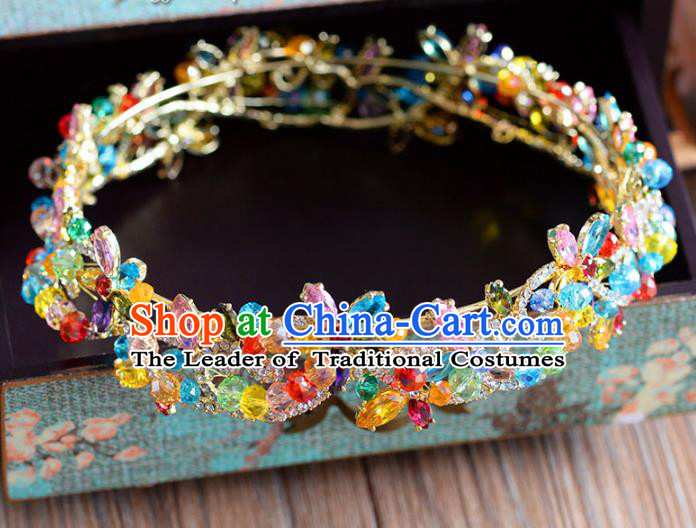 Top Grade Handmade Hair Accessories Baroque Colorful Zircon Royal Crown Headwear for Women