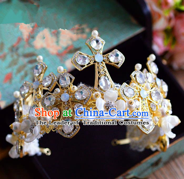 Top Grade Handmade Hair Accessories Baroque Queen Crystal Royal Crown Headwear for Women
