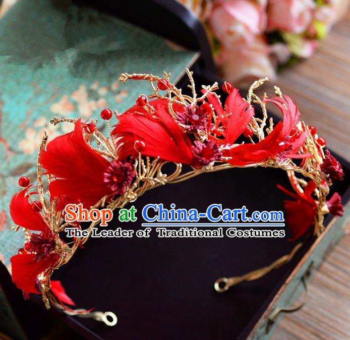 Top Grade Handmade Hair Accessories Baroque Red Feather Royal Crown Headwear for Women