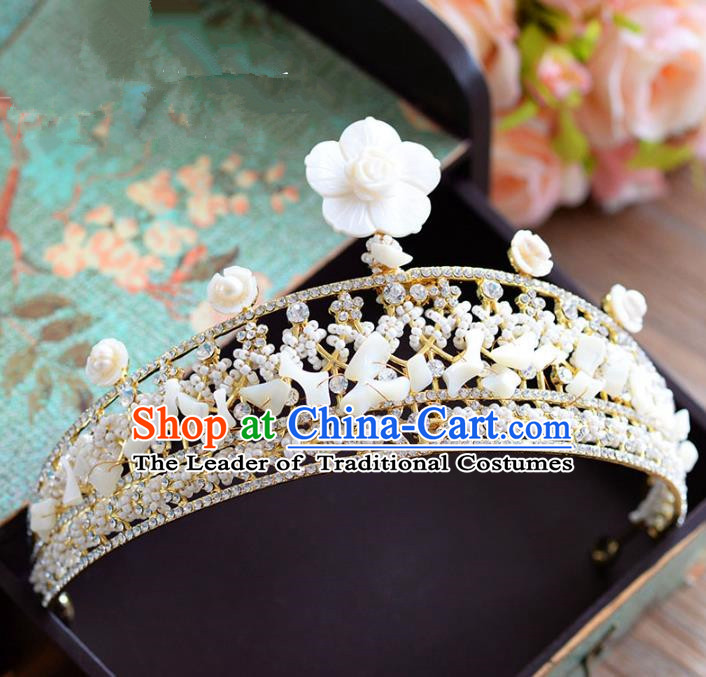 Top Grade Handmade Hair Accessories Baroque Queen Shell Royal Crown Headwear for Women