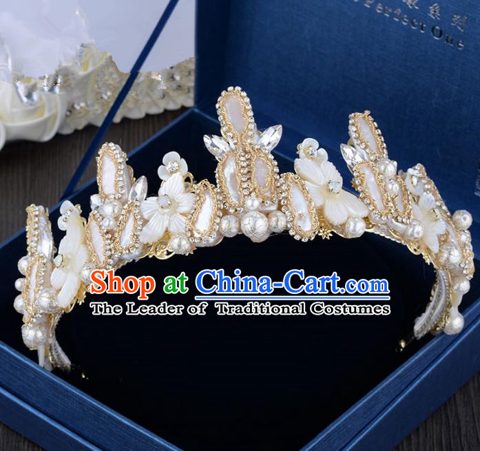 Top Grade Handmade Hair Accessories Baroque Shell Pearls Royal Crown Headwear for Women