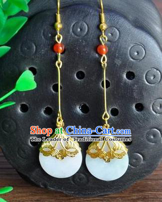 Top Grade Chinese Handmade Wedding Accessories Hanfu White Jade Earrings for Women