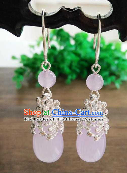 Top Grade Chinese Handmade Wedding Accessories Hanfu Palace Pink Jade Brass Earrings for Women
