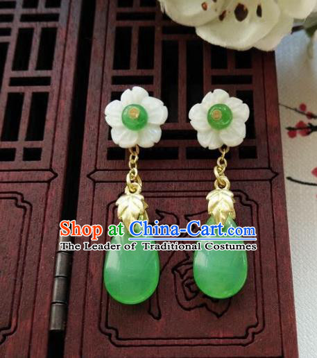 Top Grade Chinese Handmade Wedding Accessories Hanfu Palace Shell Earrings for Women