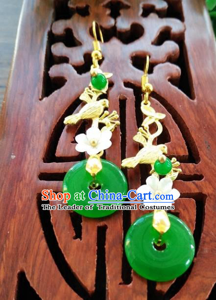 Top Grade Chinese Handmade Wedding Accessories Hanfu Peace Buckle Earrings for Women