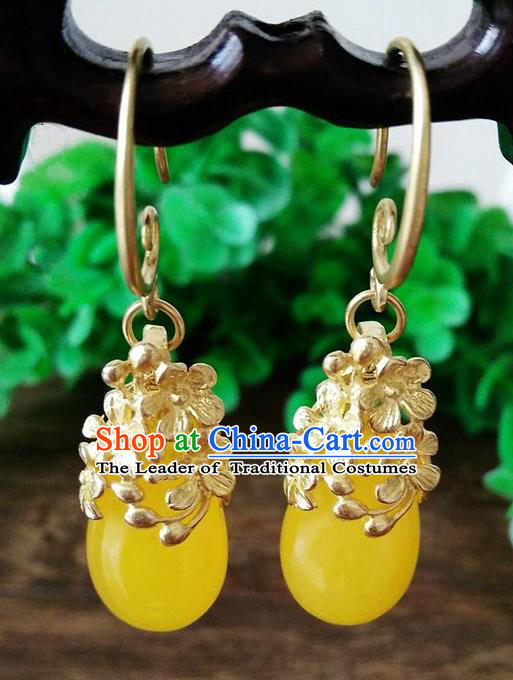 Top Grade Chinese Handmade Wedding Accessories Brass Eardrop Hanfu Yellow Jade Earrings for Women