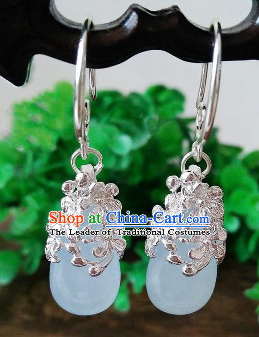 Top Grade Chinese Handmade Wedding Accessories Brass Eardrop Hanfu Blue Jade Earrings for Women