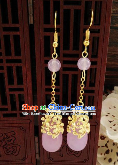 Top Grade Chinese Handmade Wedding Accessories Eardrop Hanfu Violitde Earrings for Women