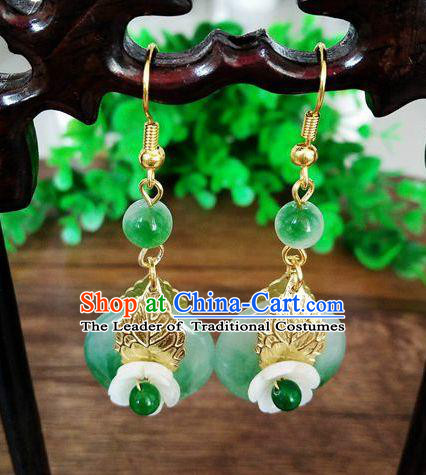 Top Grade Chinese Handmade Wedding Accessories Golden Eardrop Hanfu Jade Earrings for Women