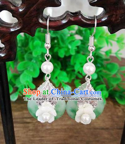 Top Grade Chinese Handmade Wedding Accessories Pearl Eardrop Hanfu Jade Earrings for Women